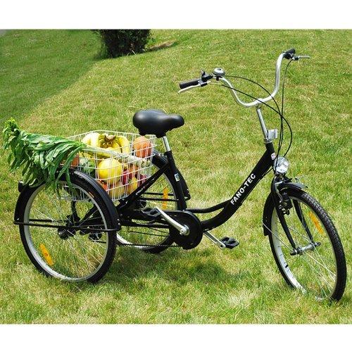 """ZNL FANO-TEC Dreirad Für Erwachsene Lastenfahrrad Erwachsenendreirad Seniorenrad 24"""" 6-Gang-Schaltung Shimano FT-7009 Schwarz"""