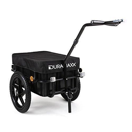 Duramaxx Big-Mike • Fahrradanhänger • Lastenanhänger • Handwagen • mit Hochdeichsel • Transportbox mit 70 Liter Volumen • Max. 40kg • Kugel-Kupplung für Fahrräder mit 26'' - 28'' • schwarz